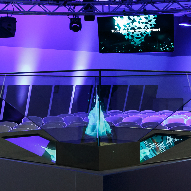 The chic prio holostele creates new opportunities for your event! Made by prio Event Management.
