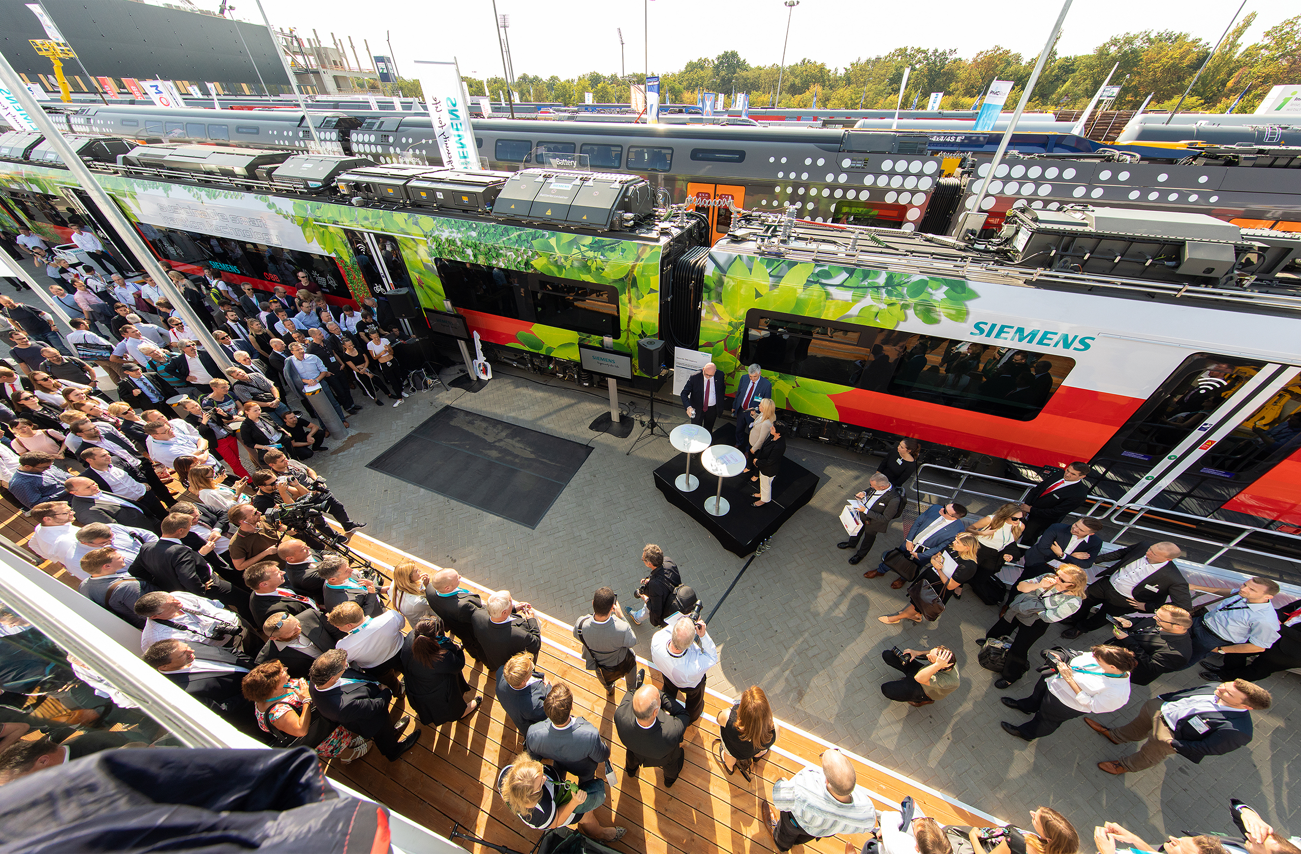 Siemens Mobility at the Innotrans at the fairground of the Messe Berlin. Realized of prio Event Management, three smart train presentations.